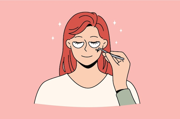 Skincare and beauty treatment concept. face of young smiling woman with patches below eyes and cosmetologist hand with tool making beauty treatment vector illustration