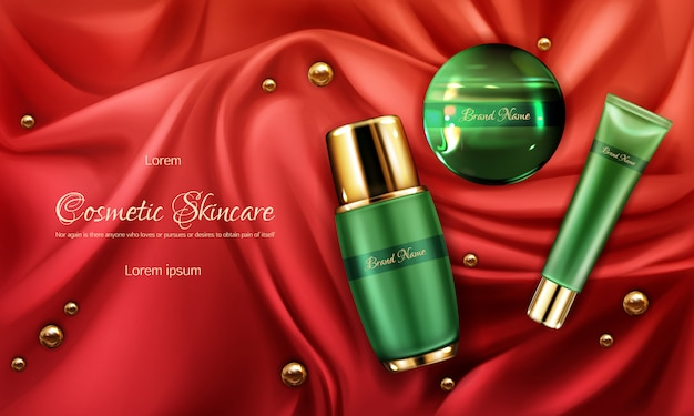 Skincare cosmetics products line 3d realistic vector ad banner