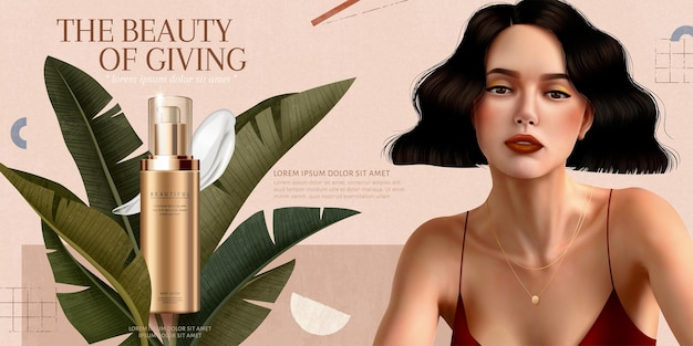 Skincare cream ads with short hair woman on geometric background