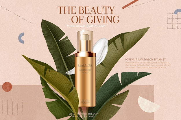 Skincare cream ads with tropical leafs on geometric background in 3d illustration