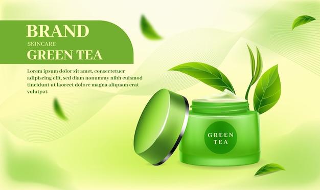 Skincare cream banner on green