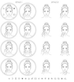 スキンケアアイコン。白い背景と女の子の顔の黒い線画のみで囲まれた、2つのスタイルのアイコンの8つのバリエーションのセット。メインセットに加えて9つのミニサインアイコン