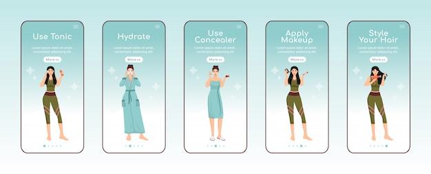 Уход за кожей питательные шаги на борту мобильного приложения плоский шаблон экрана. использование тонера. пошаговое руководство сайта с шагами персонажей. ux, ui, gui смартфон, мультипликационный интерфейс, набор отпечатков