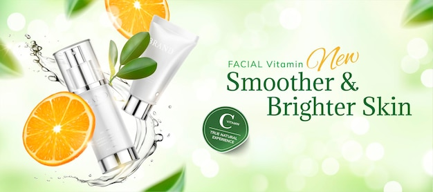 Skincare product banner banner with sliced orange and swirling liquid on green glittering bokhe surface in 3d style