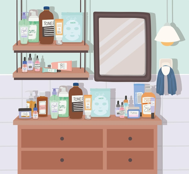 욕실 그림에서 스킨 케어 제품 및 거울