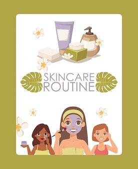 Процедура по уходу за кожей, реклама средств по уходу за кожей лица