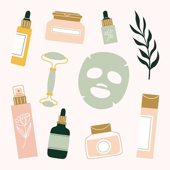 Skincare routine products sheet mask, face roller, serum, essential oil, moisturizer, mist, toner, cleansing balm and essence.