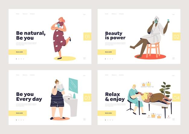 化粧品の手順を行う女性とテンプレートのランディングページのスキンケアセット