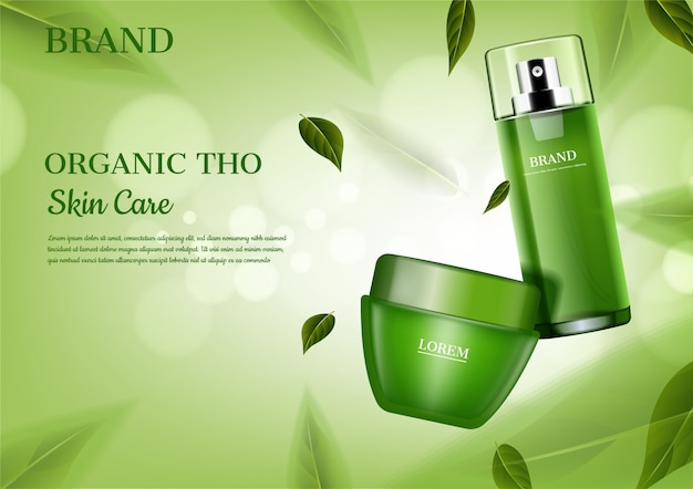 Skincare set with flying green leaves