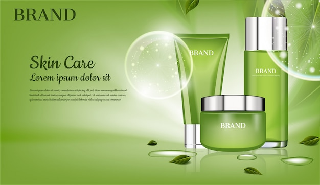 Skincare set with green leaves, and big bubbles vector cosmetic ad