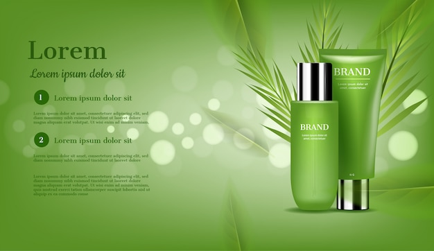 Skincare set with green leaves, and bokeh