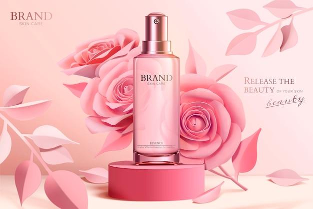 3dスタイルの列にピンクの紙の花とスキンケアスプレーボトルのバナー