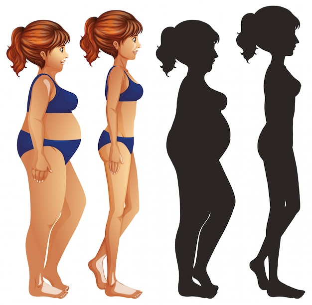Skinny and fat women with silhouette
