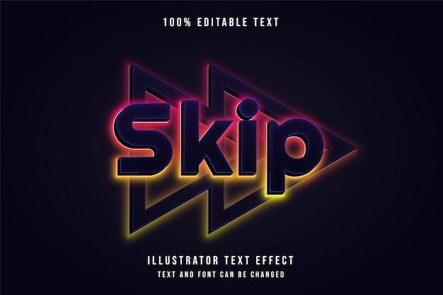 Skip,3d editable text effect pink gradation yellow neon style effect