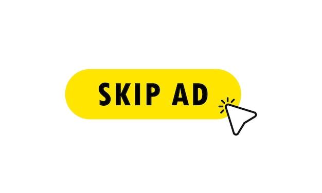 広告ボタンをスキップします。クリックカーソルで広告アイコンをスキップします。クリック。手のアイコンポインター。孤立した白い背景の上のベクトル。 eps 10