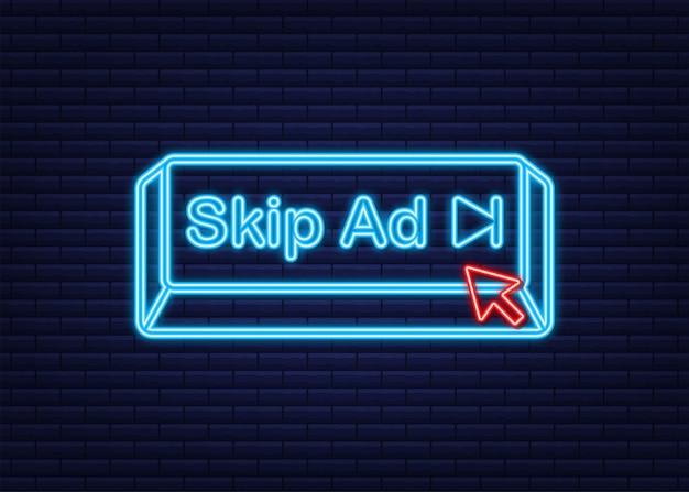 白い背景で隔離の広告ウェブアイコンをスキップします。ネオンアイコン。株式ベクトルイラスト。