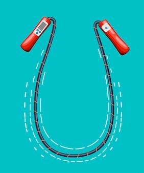 Скакалка-скакалка на белой странице веб-сайта и мобильное приложение на спортивном оборудовании.