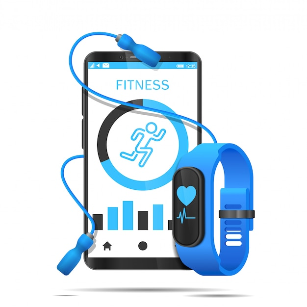 Skipping rope wraps around smartphone with app and fitness watch realistic