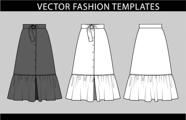 Skirt fashion flat sketch template