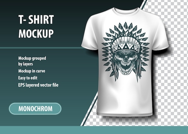 Skul of indian warrior. t-shirt template, fully editable.