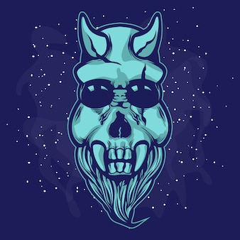 A skull alien creature with beard