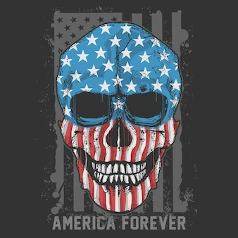 Skull america usa flag artwork vector