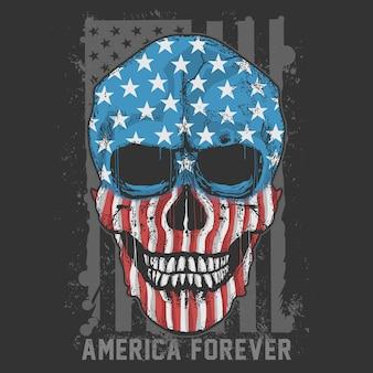 Skull america usa flagアートワークベクトル
