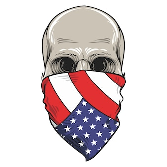Skull american flag bandana