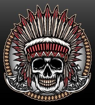 Skull american native head isolated on black