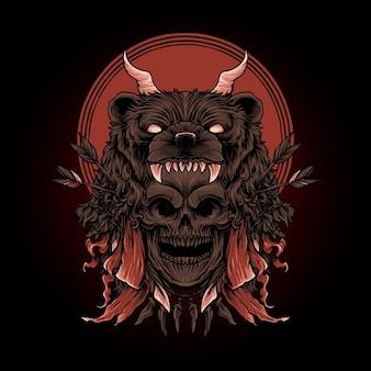 Иллюстрация черепа и головы медведя премиум векторы, идеально подходит для футболки