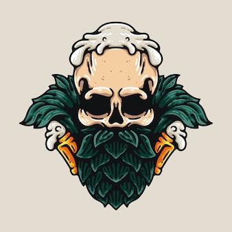 頭蓋骨とビールのホップ