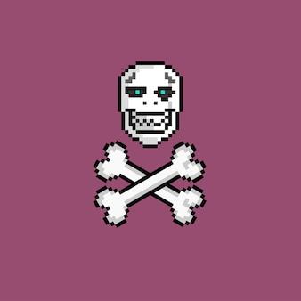 픽셀 아트 스타일의 두개골과 십자가
