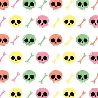벽지 포장 및 배경을 위한 해골과 이미지의 원활한 패턴