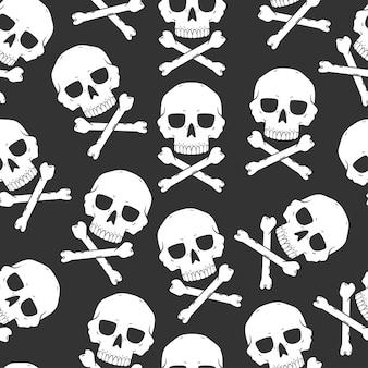 해골과 이미지 벡터 할로윈에 대 한 완벽 한 패턴입니다. 벽지, 포장, 포장 및 배경을 위한 배경입니다.