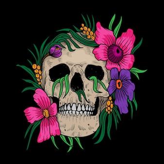 頭蓋骨と花のイラスト