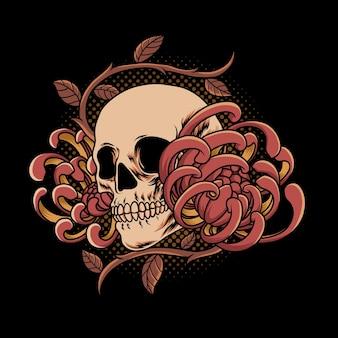 Череп и цветок винтаж