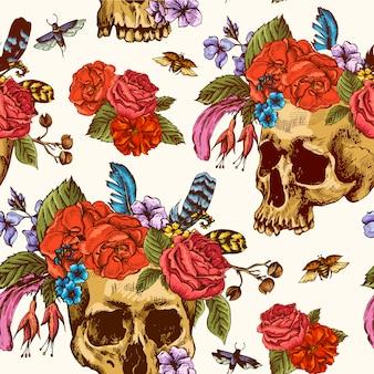 頭蓋骨と花の死んだシームレスパターンの日