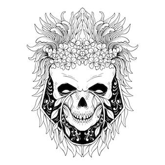 死者の頭蓋骨と花の日ヴィンテージベクトルイラスト