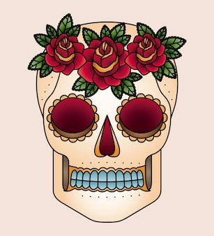 두개골과 꽃 문신 격리 아이콘 디자인 프리미엄 벡터