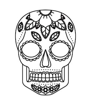 두개골과 꽃 문신 격리 아이콘 디자인