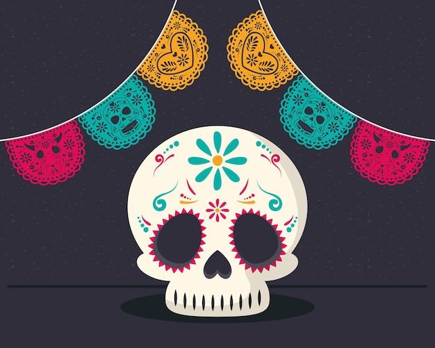 頭蓋骨と花輪