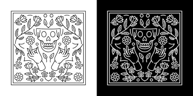花のモノラインバッジのデザインと頭蓋骨と手