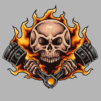 Skull and Piston Motorcycle Tattoo