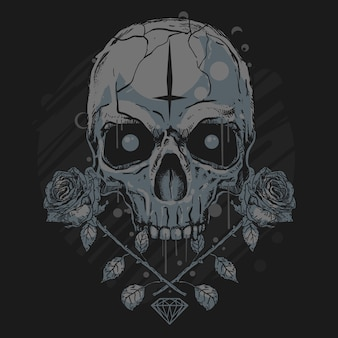 Алмазный искусственный череп и роза