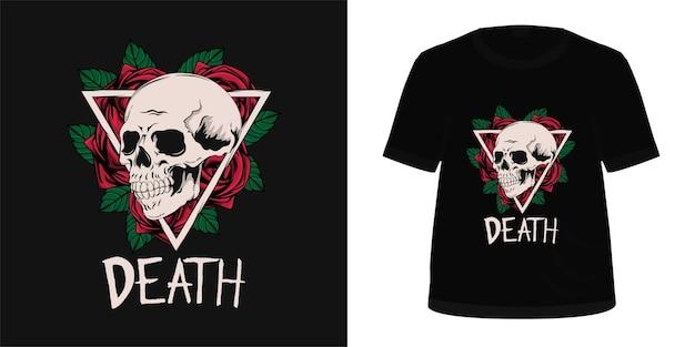Tシャツのデザインのための頭蓋骨とバラ