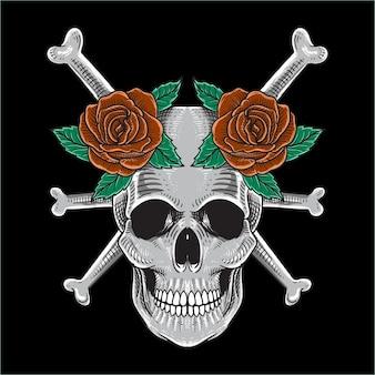 두개골과 장미 손으로 그린 디자인