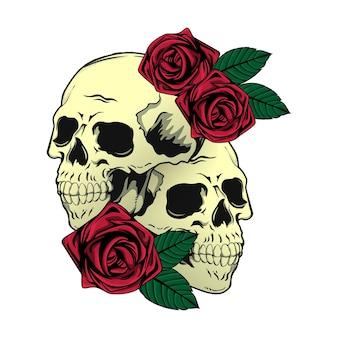 Tシャツの頭蓋骨とバラのイラストデザイン