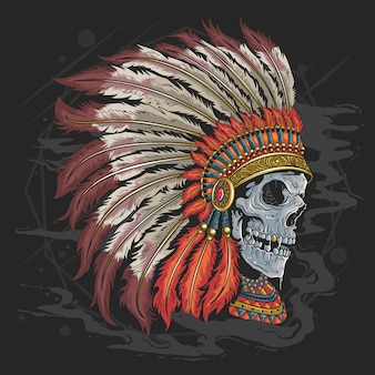 Skull apache american indian  head tattoo artwork with editable layers