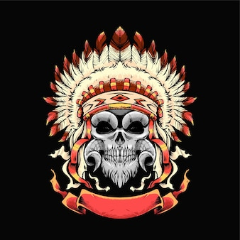 Череп апачей иллюстрации. подходит для футболок, принтов и товаров