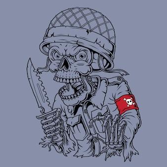 Skull army illustration. hand drawn.